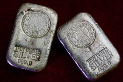 Alaska Mint Assay Bars - Silver Bullion Stock Photos
