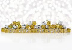 Congratulations golden text and golden and silver gifts Stock Photos