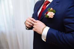 Businessman hands with cufflinks and clocks. Elegant gentleman clother Kuvituskuvat