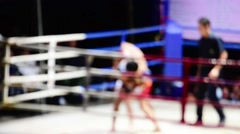 Muaythai on outdoor stage in the night. Stock Footage
