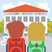 Welcome back to school card with a boy, a girl and flowers in front of the bu Stock Illustration