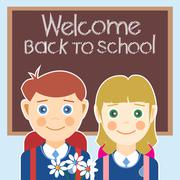 Welcome back to school card with a boy, a girl and flowers. Digital vector im Stock Illustration