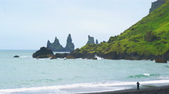 View of Reynisdrangar Rock Formations Stock Footage