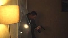 4K Special police officers with handguns & flashlights raiding dark apartment. Stock Footage