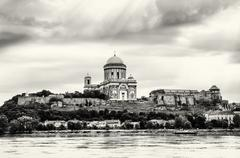 Beautiful basilica in Esztergom, Hungary, cultural heritage, black and white Stock Photos
