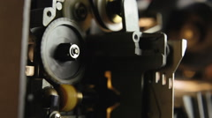 Super 8 mm parts wheels angled Stock Footage