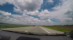 Riding a car on open highway, driving plate shot Stock Footage
