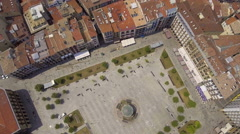 Flying Above Old Town Square and narrow streets in Pamplona, Spain Stock Footage