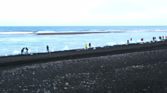 Iceberg and tourists on a black volcanic sand beach Stock Footage