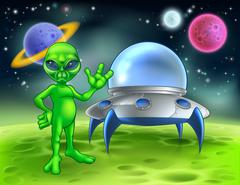 Alien and Flying Saucer on Moon Stock Illustration
