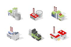 Icons and compositions of industrial building, isolated constructions, subjects - stock illustration