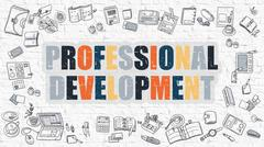 Professional Development Concept with Doodle Design Icons Stock Illustration