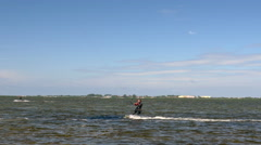 Kite Surfing in Ocean, Extreme summer sport. Kite Boarding in Baltic Sea. Stock Footage