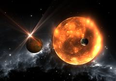 Extrasolar planets or exoplanets and red dwarf or red supergiant. Stock Illustration