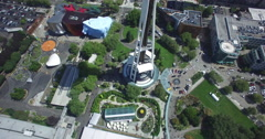 Aerial shot tilting up the Space Needle Stock Footage
