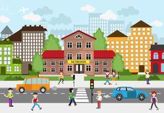 Children going to school Stock Illustration