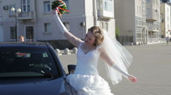 Bride next to the car Stock Footage