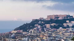 Castel Sant'Elmo and Vomero hill views from Capodimonte. Naples, Italy Stock Footage