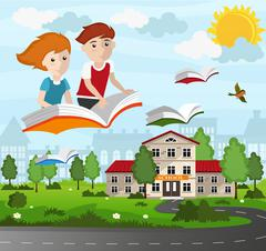 School children flying on a book Piirros