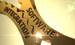 Software Integration Concept. Golden Cogwheels Stock Illustration