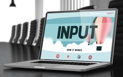 Input on Laptop in Meeting Room Stock Illustration