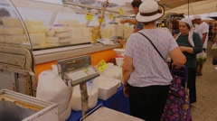 Dairy products counter at the market Stock Footage