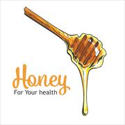 Wooden honey dipper isolated on a white background Stock Illustration