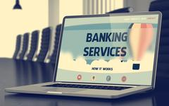 Banking Services on Laptop in Meeting Room Stock Illustration