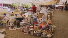 Kitchen stuff at the market outdoors Stock Footage