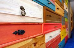 Colorful Wooden Drawer Stock Photos