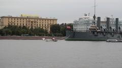 AUGUST 12, 2016 The cruiser Aurora parking on the Petrograd embankment. Stock Footage