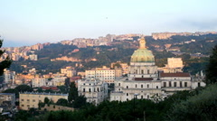 Buon Consiglio church and the hill of Vomero. Naples, Italy Stock Footage