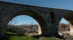 The pont Julien bridge, Provence, France, pan Stock Footage