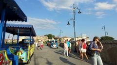 The little tourist train transportation vehicle Stock Footage