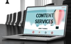 Landing Page of Laptop with Content Services Concept Stock Illustration