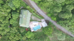 Drone view of mountain and house Stock Footage