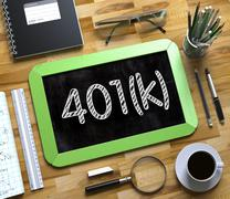 Small Chalkboard with 401k Concept Stock Illustration