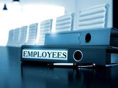 Employees on Folder. Toned Image Stock Illustration