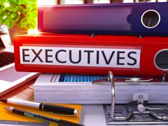 Executives on Red Ring Binder. Blurred, Toned Image Stock Illustration