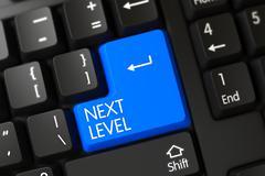 Blue Next Level Button on Keyboard Stock Illustration