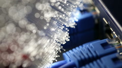 Ethernet cable and server with Fiber optics background, shot in HD Stock Footage