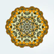 Buddhist philosophy, mandala yellow color Lotus pattern on the background - stock illustration