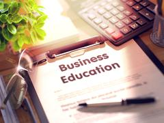 Clipboard with Business Education Concept Stock Illustration