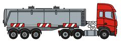 Red towing truck with a tank semitrailer Stock Illustration