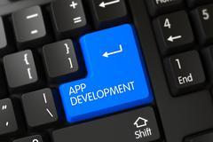 Blue App Development Keypad on Keyboard Stock Illustration