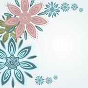Mandala colored Lotus flower greeting card light background - stock illustration