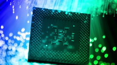 Computer cpu with Fiber optics background, shot in HD Stock Footage