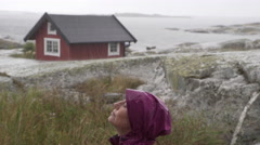 Rainy day in the Swedish archipelago Stock Footage