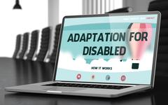 Adaptation For Disabled on Laptop in Meeting Room Stock Illustration