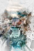Luxury yachts in Port Le Vieux, France. Digital watercolor painting. Stock Illustration